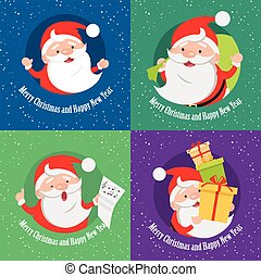 Merry Christmas and Happy New Year. Set of banners. Santa...