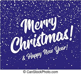 Merry christmas and happy new year snow background. Round snowflakes on a background of blue sky. Vector