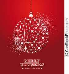 Merry Christmas and Happy New Year stars bauble card - Merry...