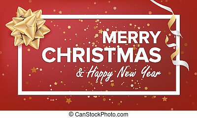 Merry Christmas And Happy New Year Text Vector. Christmas Greeting Card. Modern New Year Poster, Flyer Template Design. Festival Holiday Illustration