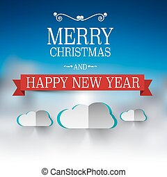 merry christmas and happy new year text vector winter xmas card with heaven and clouds