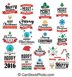 Merry Christmas and Happy New Year typographic background, ...