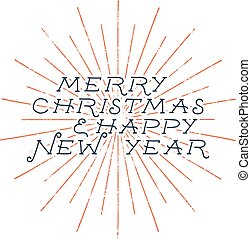Merry Christmas and happy new year typography label. Retro...