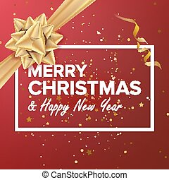 Merry Christmas And Happy New Year Vector. Christmas Greeting Card. Realistic Bow. Xmas Modern New Year Poster, Flyer Design. Event Holiday Illustration