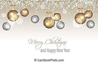 Merry Christmas and Happy New Year banner with snowflakes, snow, blurred circles, golden and silver hanging bauble.