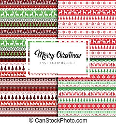 Merry Christmas And Happy New Year Seamless Pattern Winter...