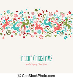 Merry Christmas and Happy New Year vintage greeting card
