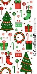 Merry Christmas and Happy New Year vertical border ribbon. Gifts, boxes, tree, socks and sweets in flat style. Vector seamless pattern with objects