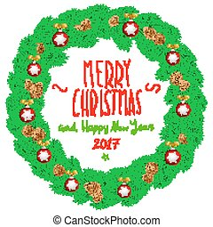 Merry Christmas And Happy New Year Vintage Background With Typography White Card Wreath