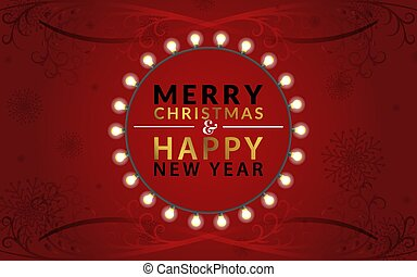 Merry Christmas and Happy New Year with a golden gradient. Around the text a garland with bulbs on a red background. Along the edges of the illustration are beautiful swirls.