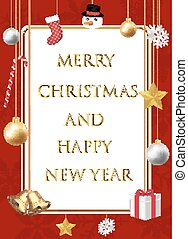 merry christmas and happy new year with decorative