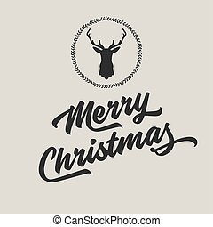 Merry Christmas and Happy New Year with silhouette of reindeer head.