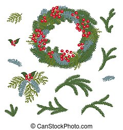 Merry Christmas And Happy New Year Wreath design pack.