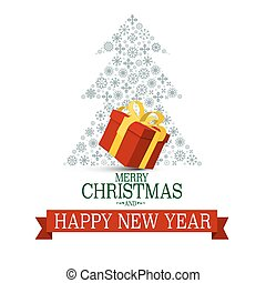 Merry Christmas and Happy New Year. Xmas Card with Snowflakes Tree and Gift Box Isolated on White Background.