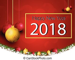 Merry Christmas and New Year 2018 with a lamp on the grass on a red background.