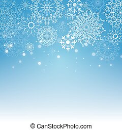 Merry Christmas and New Year blue background with snowflakes. Template for greeting card, poster, flyer