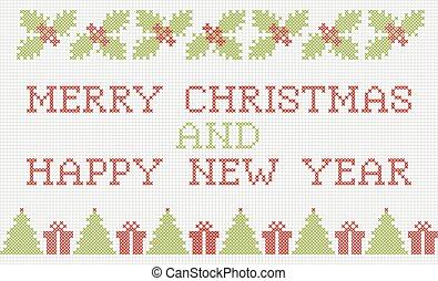Merry Christmas and New Year cross-stitch card