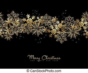 Merry Christmas and New Year gold snow card design