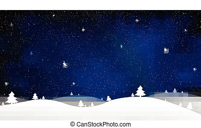 Merry Christmas and New Year of blue snow star light...