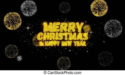 Merry Christmas and new year Text blinking particles with golden fireworks Display background.