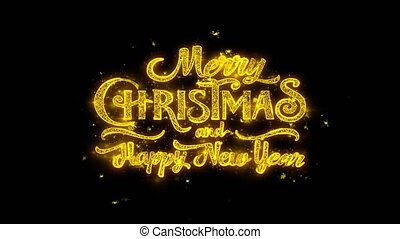 Merry Christmas and new year Typography Written with Golden...