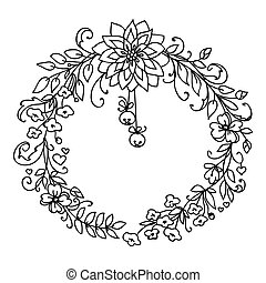 Merry Christmas and New Year wreath with little bells