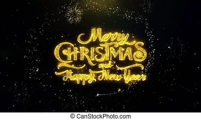 Merry Christmas and new year written gold particles...