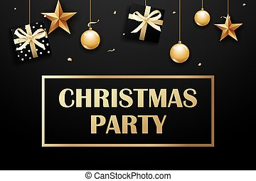 Merry christmas and party on dark background with luxury gold ball, gift box, and star.