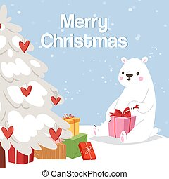 Merry christmas and polar bear with gift box and snowy tree vector illustration. Winter web design of a cute polar bear with presents, love hearts and christmas tree.