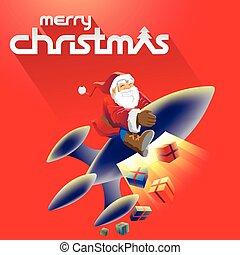 Merry Christmas and Santa Stock Illustration