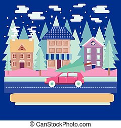 Winter city landscape with firs in flat modern style.
