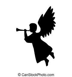 merry christmas angel silhouette vector design