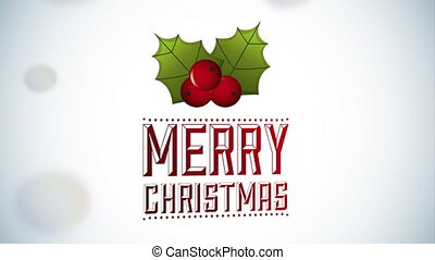merry christmas animation with berries decoration , hd video