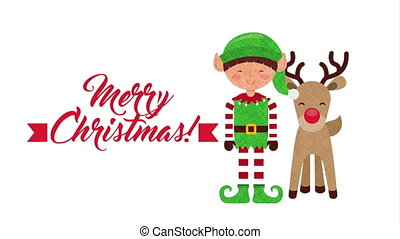 merry christmas animation with cute elf and reindeer , hd...