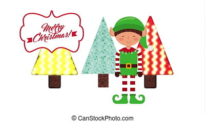 merry christmas animation with cute elf