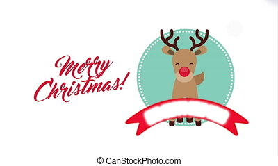 merry christmas animation with cute reindeer