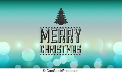 merry christmas animation with pine tree , hd video