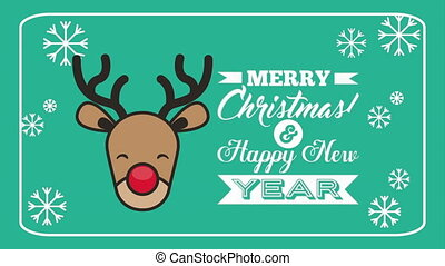 merry christmas animation with reindeer character , hd video
