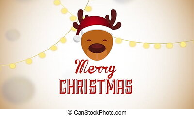 merry christmas animation with reindeer head character , hd...