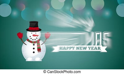 merry christmas animation with snowman , hd video
