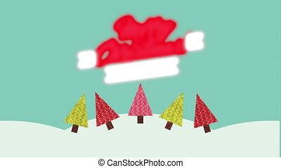 merry christmas animation with snowscape