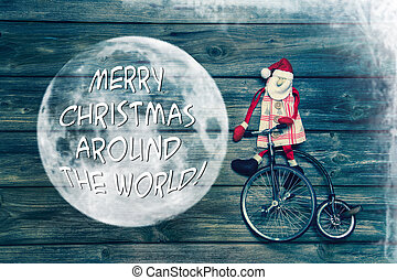 Merry christmas around the world - greeting card with text decor