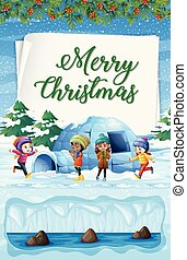 Merry Christmas at North Pole illustration