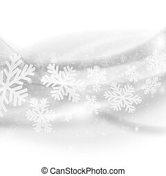 Merry Christmas background. Abstract light grey waves with snowflakes. Vector eps10 illustration