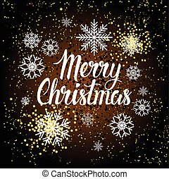 Merry Christmas Background Beautiful White Snowflakes On Winter Holiday Decoration Poster