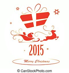 Merry Christmas background, Santa Claus in a sleigh and gift box vector illustration
