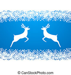Merry Christmas background with snowflakes and reindeer