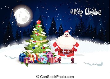 Merry Christmas Background Winter Forest Landscape Night With Pine Tree Glowing And Santa