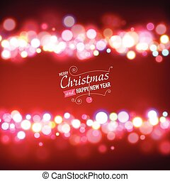 Merry Christmas Background with bokeh lights.