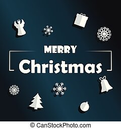 Merry Christmas background with objects in paper cut style.